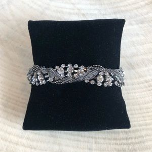 Charcoal Crystal and Chain Braided Bracelet